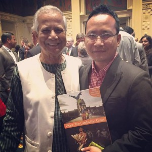 Nobel Peace Prize Laureate Dr Muhammad Yunus and Mr Dara Huot, CEO of Phare Performing Social Enterprise reunite in San Francisco.