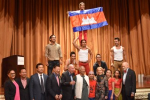 Pride of Cambodia: Phare, The Cambodian Circus with their old friend Muhammad Yunus and former US Secretary of State George P. Shultz after their performance at the Give2Asia dinner.