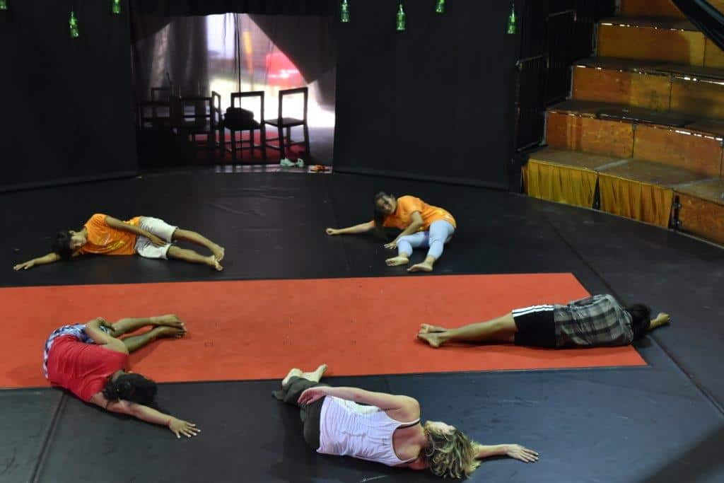 Stretching during dance traning at Phare Circus