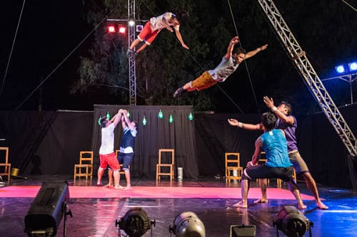 Phare Circus acrobats performing on the outdoor stage