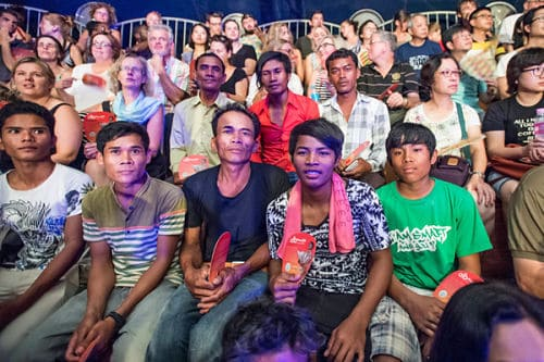 Cambodian and international guests in the audience of the Phare Circus big top