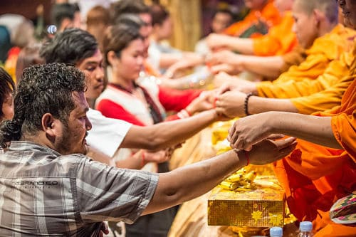 Buddhist Monk Blessing at the Phare Circus Grand Opening of the new location