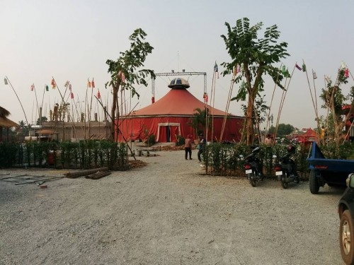 Phare Circus big top new location setting up, Siem Reap, Cambodia