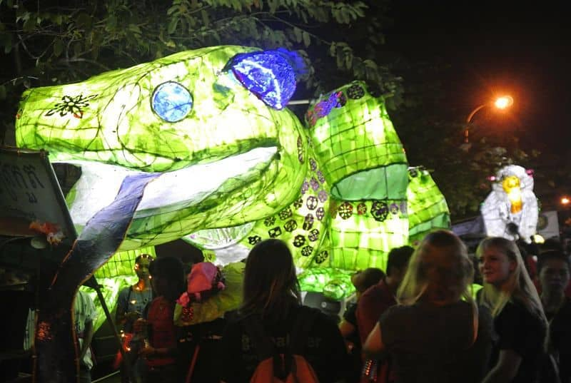 Float from the Giant Puppet Parade on a Siem Reap street