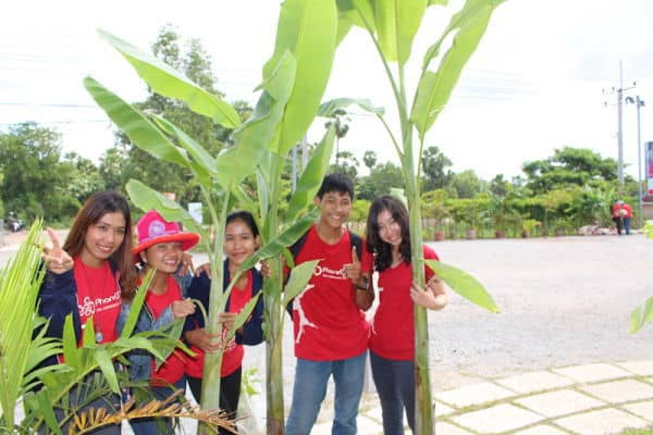 Tree planting at the new Phare Circus location - staff holding banana trees to be planted