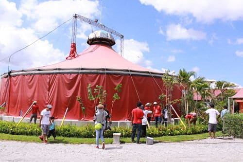 Phare Circus Siem Reap tree planting around the new location of the iconic red big top