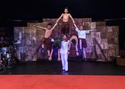 "Phare Circus performance ""Influence""; perfomers jump through human pyramid"