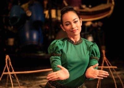 "Phare Circus performance ""White Gold"" - female traditional Apsara dancer"