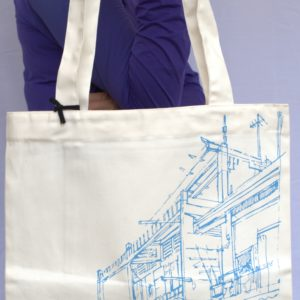 Phare Boutique shop tote bag - khmer house - blue print on white