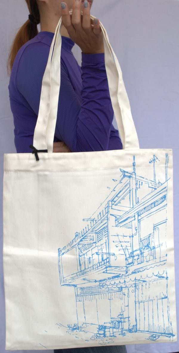 Phare Boutique shop tote bag - khmer house - blue print on white