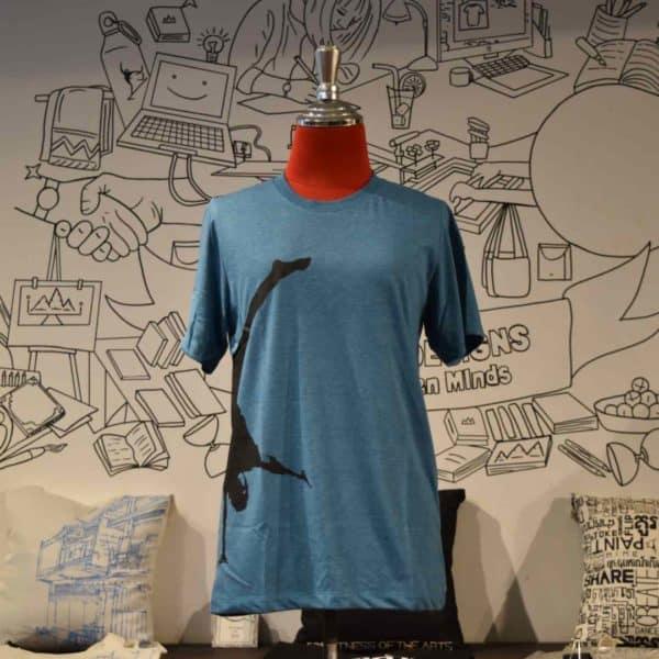 Phare T-shirt - handstand - black on blue