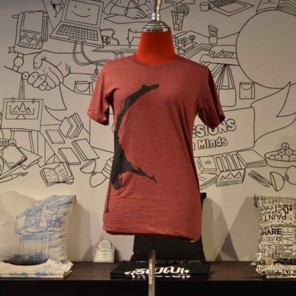 Phare t-shirt - artist handstand black on red