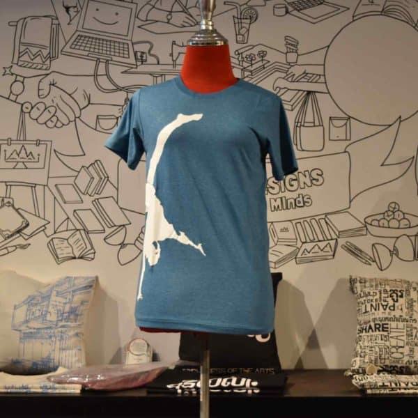 Phare t-shirt - artist handstand - white on blue