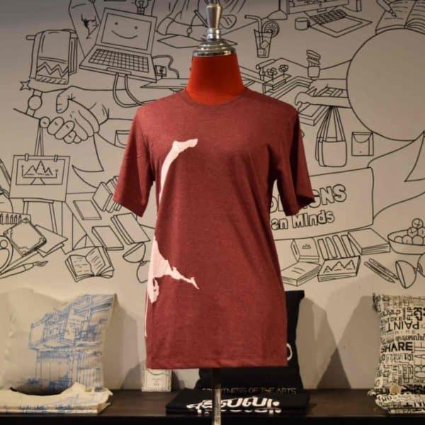 Phare t-shirt - artist handstand - white on dark red