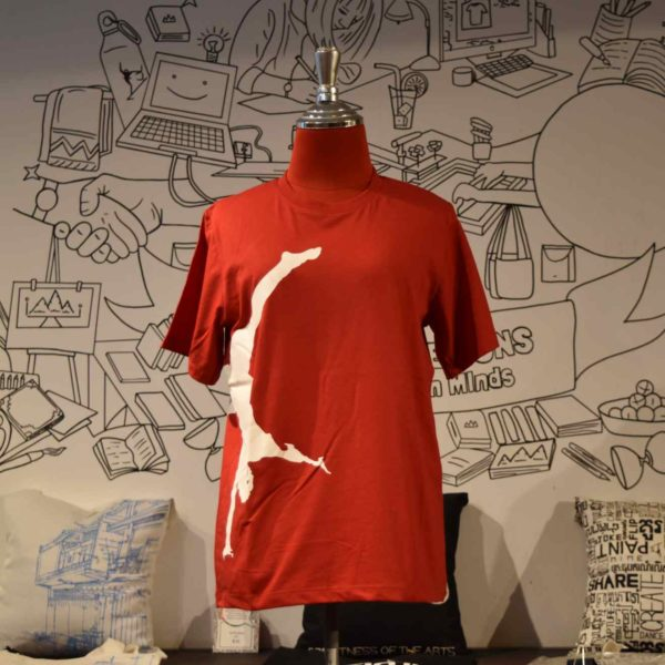 Phare t-shirt - artist handstand - white on red