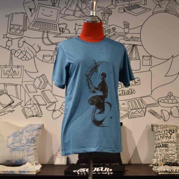 Phare Circus t-shirt monocycle juggling black print on blue