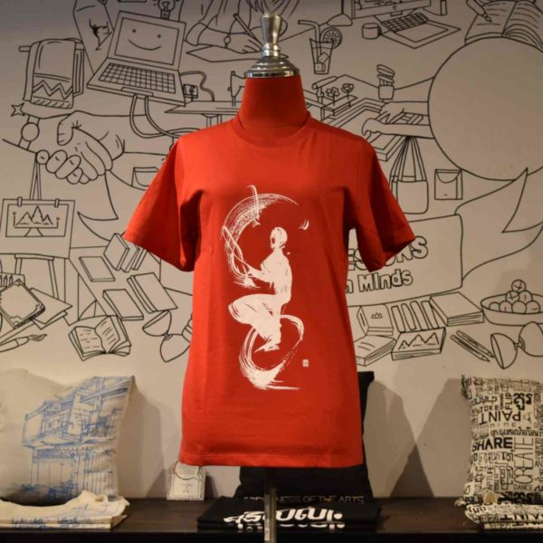 Phare Circus t-shirt monocycle juggling white print on red