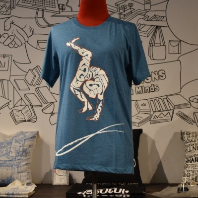 Phare Circus t-shirt - Contortion - White on Blue