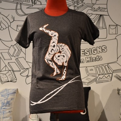 Phare Circus t-shirt - Contortion - White on Dark Gray