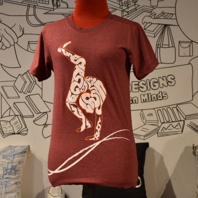 Phare Circus t-shirt - Contortion - White on Dark Red