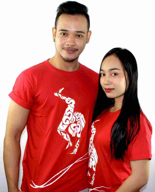 Phare Circus artists tshirt - contortion - male and female artists wearing red shite with white design
