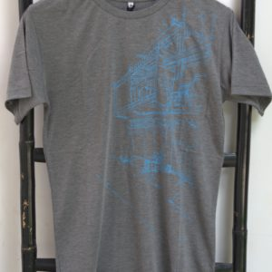 Phare Boutique shop t-shirt of Khmer house - blue print on gray