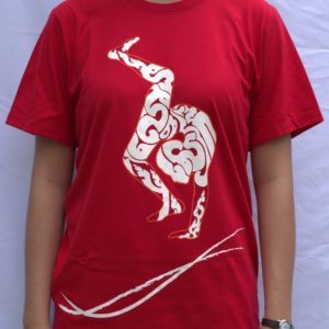 Phare Boutique shop t-shirt of contortion - white print on red
