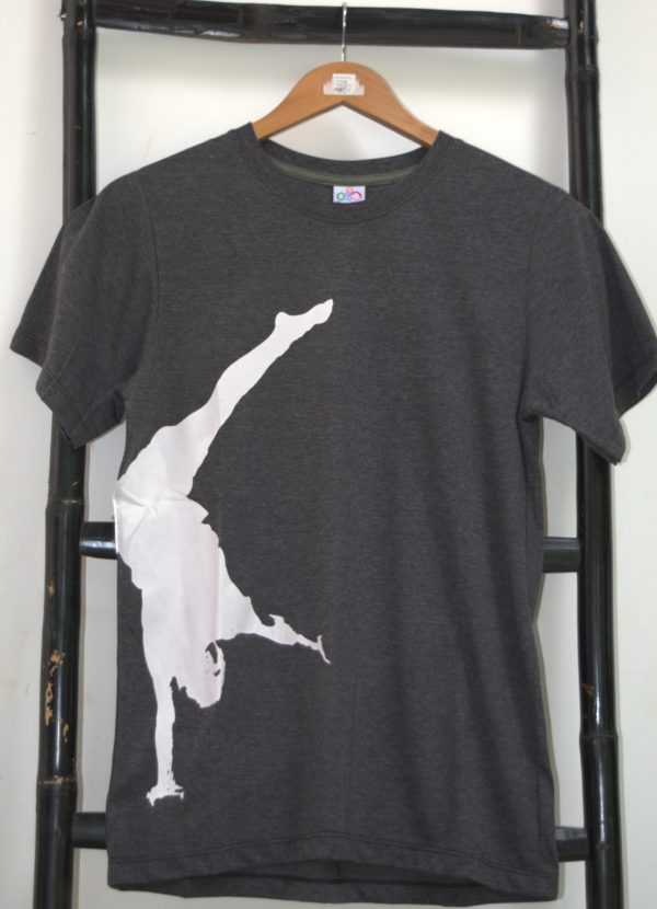 Phare Boutique shop t-shirt - handstand - white print on gray