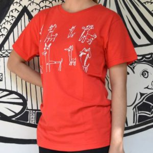 Phare Circus t-shirt - dog design - white on red