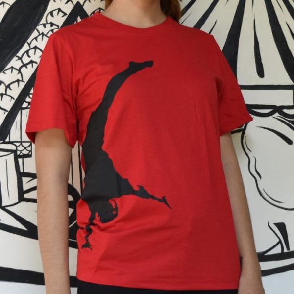 Phare T-shirt - Hand stand - black on red