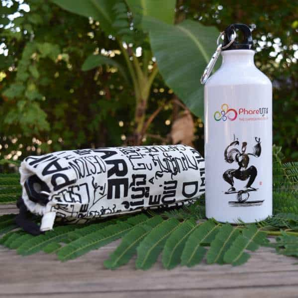 Sports water bottle - Phare Circus rola bola - white bag