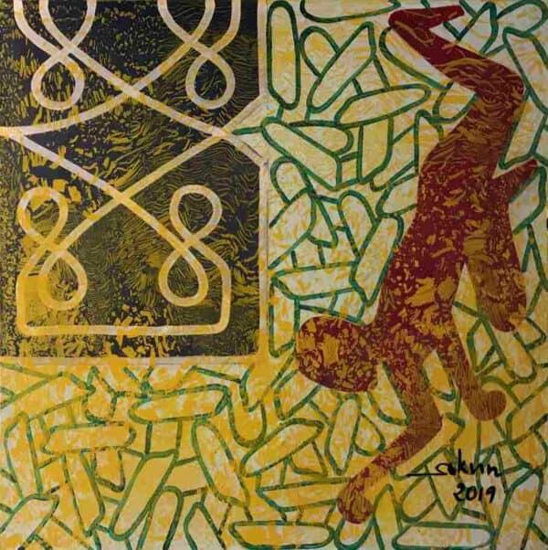 "Original artwork from Phare Circus performance ""White Gold"" called ""Effort"""