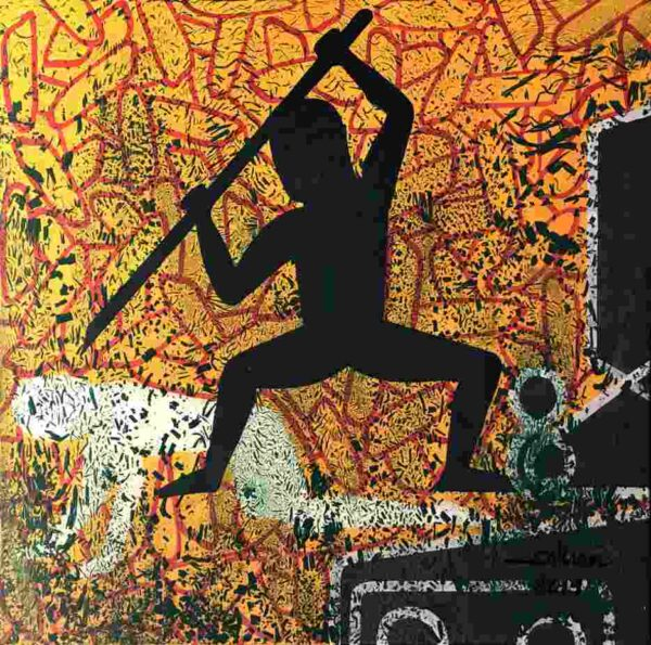 """Live painting from Phare Circus show """"White Gold"""" title """"Jealousy"""" man stabbing another"""